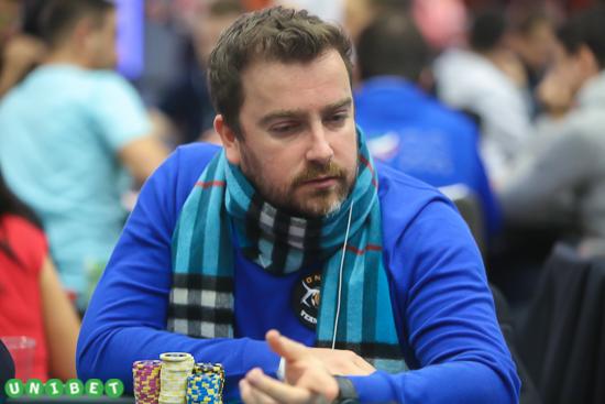 Antoine Saout remporte la 31ème place et un gain de 19 300€ durant l'event #33 - PokerStars Championship High Roller - 10300€. Crédit photo : Tommy Mandel.